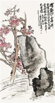 桃花 立轴 纸本 by wu changshuo