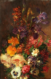 still life of flowers in a vase; and companion (pair) by william p. babcock