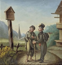 zwei wanderer am marterl by karl zadnik