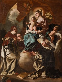 virgen con niño, papa y santos dominicos by francesco solimena