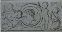 four putti surrounding a relief portrait of a classical figure by jean grandjean