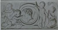 four putti surrounding a relief portrait of a classical figure by jean grandjean
