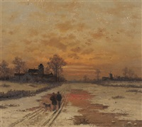 abendspaziergang in winterlicher landschaft by caesar bimmermann