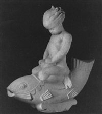 a putto riding a dolphin by edmond romulus amateis