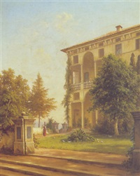 a view of an italian villa by julius edward w. helfft