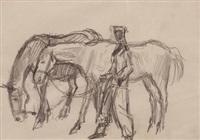 mann mit zwei pferden by georg jung