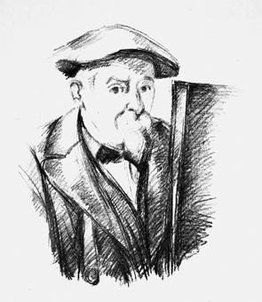 portrait de cézanne par lui même cézanne au béret devant un chevalet by paul cézanne