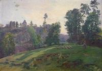 paysage vallonné aux moutons by louis le poitevin