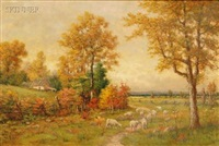 autumn landscape with a flock of sheep by h. rohde