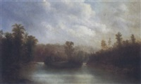 riverscape with island by henry nesbitt mcevoy