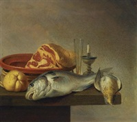 still life with a ham, a fish, a candle and other objects arranged on the edge of a tabletop (+ still life with a ewer and some fruit on a partly-draped stone ledge; pair) by harmen van steenwyck