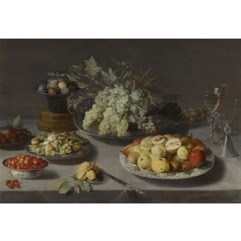 still life of grapes and other fruits with a knife façon de venise wineglasses and other objects on a draped table by osias beert the elder