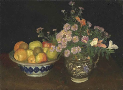 a jug of wild flowers and fruit in a bowl by sir george clausen