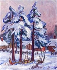 talvinäkymä taiteilijan ikkunasta - vinterutsikt från konstnärens fönster by yrjö saarinen