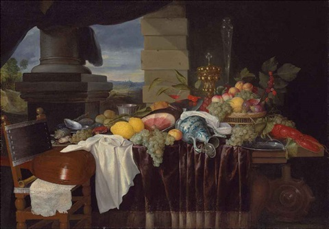 a pronk still life with fruit and a lobster a lute on a chair a landscape seen through a colonnade beyond by jan pauwel gillemans the elder