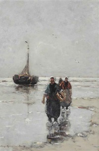 fisherwomen near a bomschuit on the beach by gerhard arij ludwig morgenstjerne munthe
