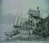 lavandieres et pecheurs sur le lac, montreux by alfred koechlin-schwartz