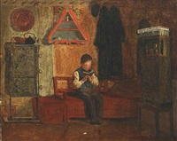 boy reading in an interior by johann julius exner