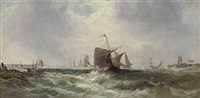 the returning fishing fleet (+ hulks and fishing vessels in inshore waters; pair) by w. rogers