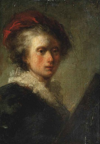 portrait of an artist half length at an easel by jean honoré fragonard