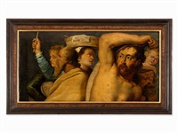 gathering of manna - fragment by flemish school (18)