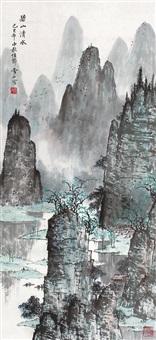 碧山清水图 立轴 设色纸本 ( mountain clear water) by bai xueshi