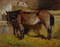 cavallo nella stalla e mucchina (cavallo alla mangiatoia) by giovanni fattori