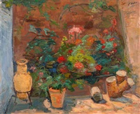flowers in a garden by leo kahn