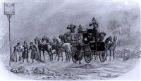 the london birmingham stagecoach in snow a stagecoach at the chequers by charles b. newhouse