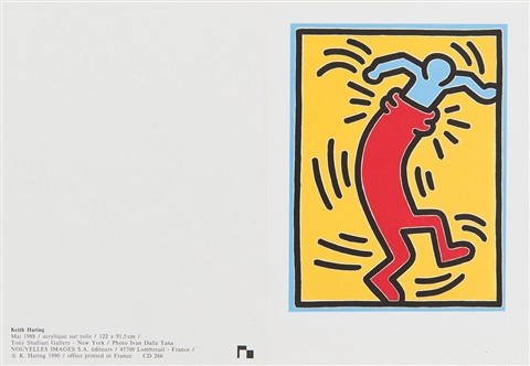 invitation card by keith haring