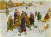 leaving for school by vladimir andreevich mineyko