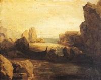 barque échouée sur un rivage rocheux by robert léopold leprince