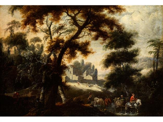 grosse waldlandschaft mit figurenstaffage und architektur or attributed to jacques darthois by lucas van uden