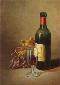 still life of wine bottle glass and grapes by w. smits