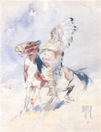 indian chieftan on horseback by daniel smith