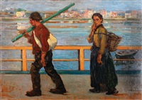 a couple by the river by jules adler