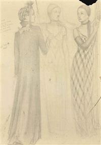 femmes vêtues de robes schiaparelli (etude pour la peinture murale de la maison du café, place de l'opéra) by angel zárraga