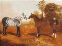 dapple grey and bay hunters in a field (+ two grey hunters in a stable interior; pair) by j. c. partridge