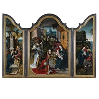 the adoration of the magi, nativity and flight into egypt (triptych) by jan van dornicke