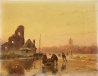 a winter landscape with skaters by andreas schelfhout