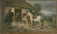 soldaten vor einer bauernhütte by wilhelm karl räuber