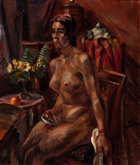seated nude in an interior by henri le fauconnier