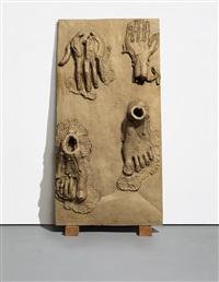 hands/feet panel (walking man) by thomas houseago