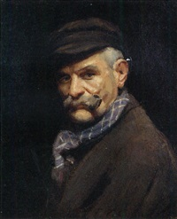 portrait of a gentleman wearing a cap, smoking a pipe by frank thomas copnall