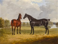 horses in a landscape by henry calvert
