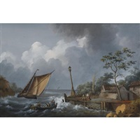 harbour scene with stormy weather by alexandre jean noel