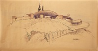 architectural study of silvertop (reiner-burchill residence) by john lautner