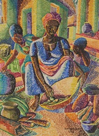 akan mother preparing lunch by kofi antubam
