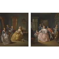 violinist and a cellist playing for two ladies (+ lady having her hair coiffured, seated beside a child and a man, two maids beyond; pair) by pietro longhi