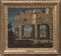 paesaggi italianizzanti con architetture classiche e figure (pair) by giacomo van (monsù studio) lint